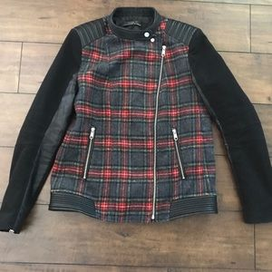 zara wool blend plaid zipper moto jacket